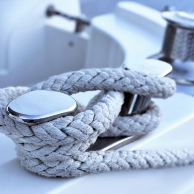 Close-up of a moored rope on a luxury yacht.